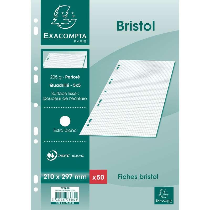 Fiches Bristol perforées blanches petits carreaux, Exacompta (format A4, 21 x 29,7 cm, x 50)