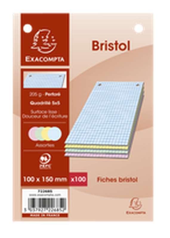 Fiches Bristol perforées de couleurs petits carreaux, Exacompta (format A6, 10 x 15 cm, x 100)