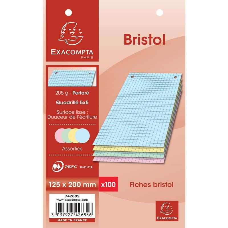 Fiches Bristol perforées de couleurs petits carreaux, Exacompta (12,5 x 20 cm, x 100)