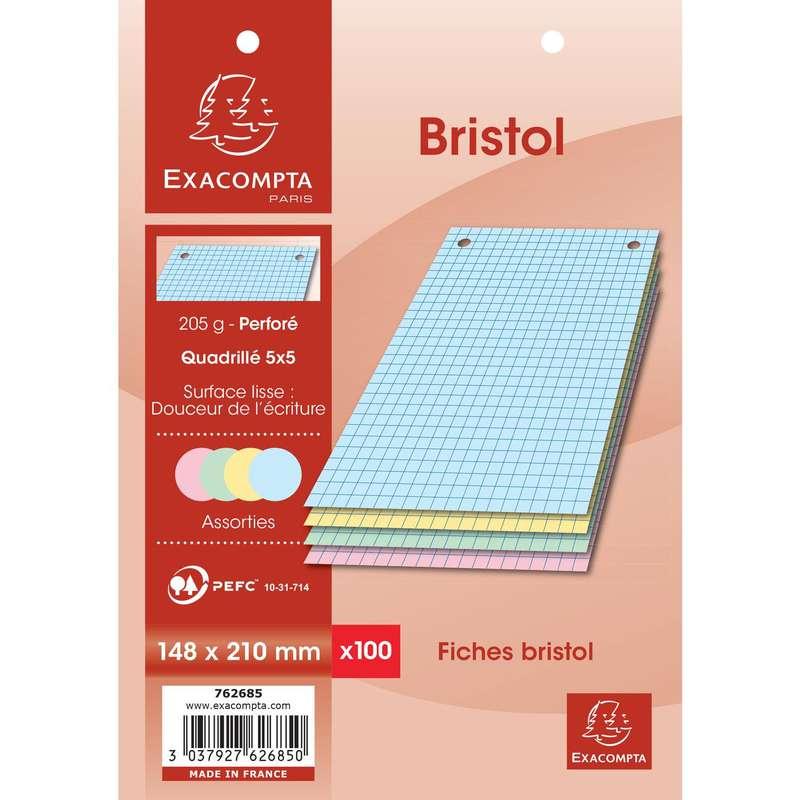 Fiches Bristol perforées de couleurs petits carreaux, Exacompta (format A5, 14,8 x 21 cm, x 100)
