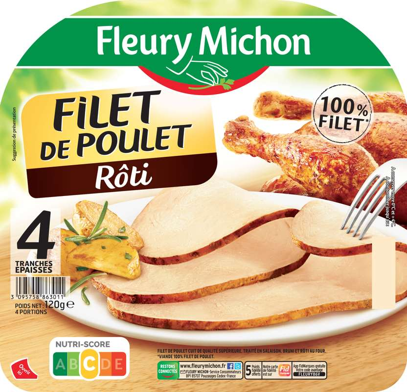 Filet de poulet rôti, Fleury Michon (4 tranches, 120 g)