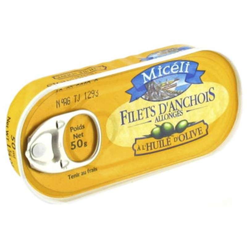 Filets d'anchois allongés à l'huile d'olive, Micéli (50 g)