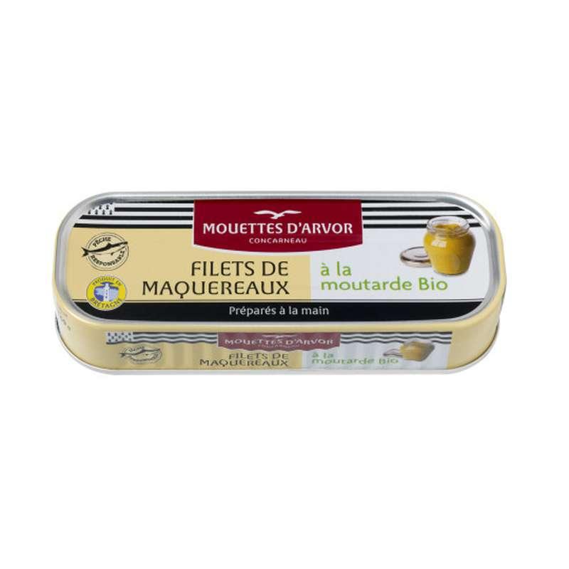 Filets de maquereaux à la moutarde BIO, Les Mouettes d'Arvor (169 g)