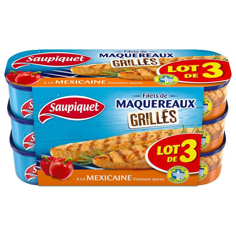 Filets de maquereaux Grillés à la Mexicaine, Saupiquet LOT DE 3 (3 x 120 g)