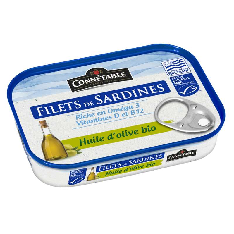 Filets de sardines huile d'olive vierge extra BIO MSC, Connetable (90 g)