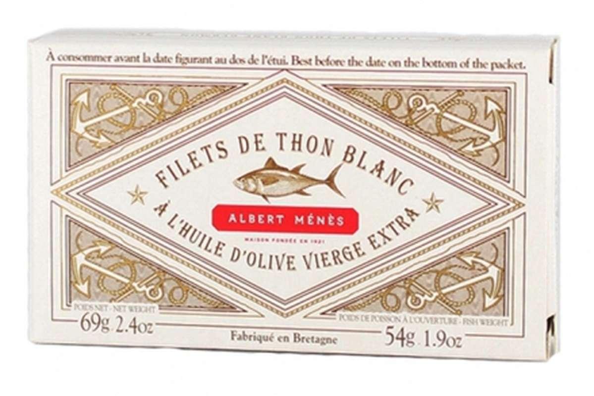 Filets de thon blanc Germon à l'huile d'olive vierge extra, Albert Ménès (69 g)