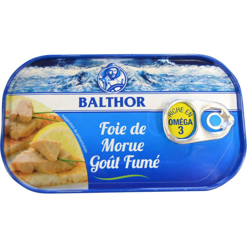 Foie de morue goût fumé, Balthor (123 g)