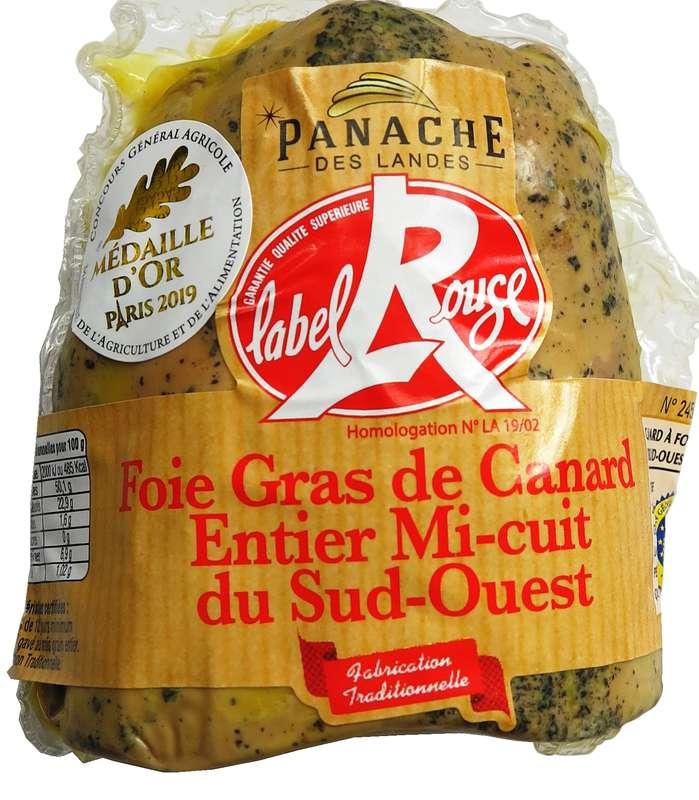 Foie gras de canard entier mi-cuit à l'ancienne demi-lobe Label Rouge, Panache des Landes (environ 250 g)