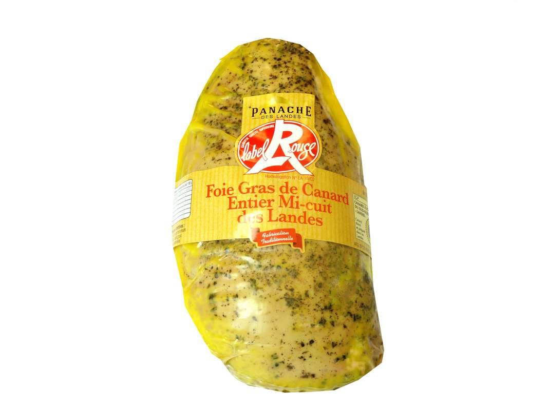 Foie gras de canard entier mi-cuit à l'ancienne lobe entier Label Rouge, Panache des Landes (environ 500 g)