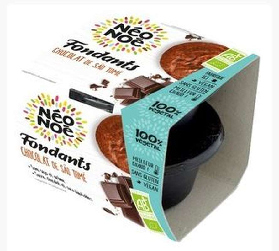 Fondant végétal BIO au chocolat de Sao Tomé sans gluten, Neo Noe (x 2, 140 g)