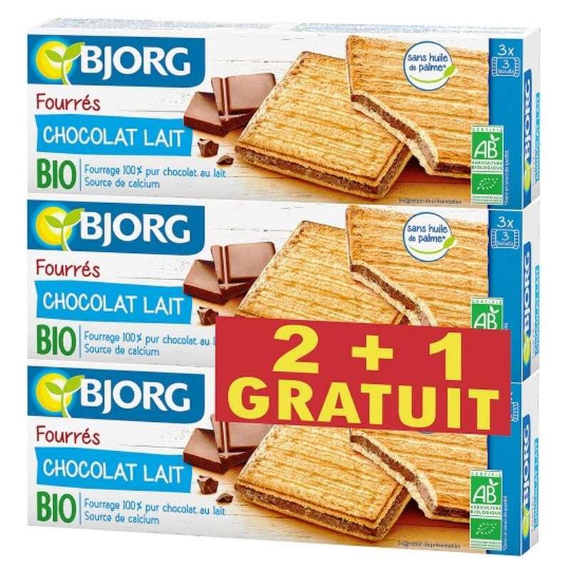 Fourrés chocolat au lait BIO, Bjorg OFFRE SPECIALE LOT DE 2 + 1 OFFERT  (3 x 225 g)
