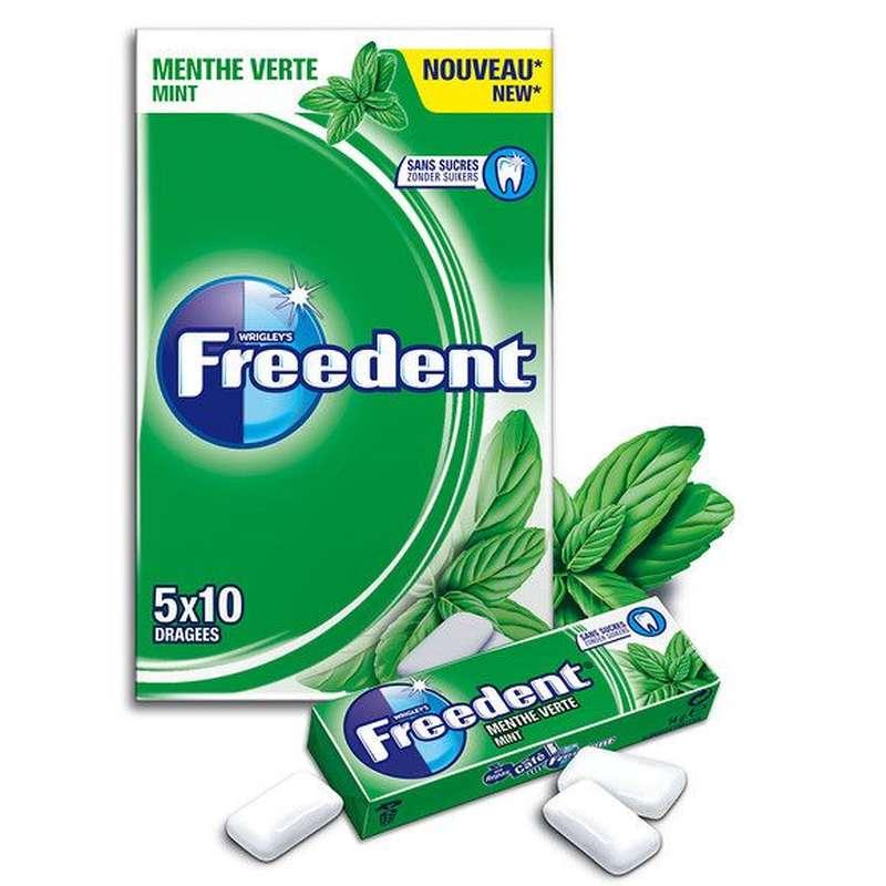 Chewing gum dragée Menthe verte sans sucre, Freedent (5 étuis de 10 dragées)