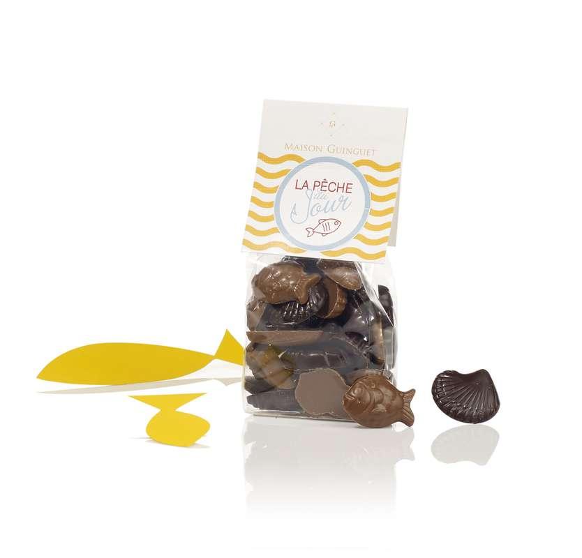 """Fritures """"La Pêche du Jour"""" mélange Chocolat Noir et Lait, Maison Guinguet (120 g)"""