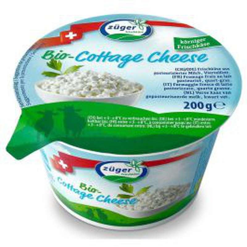 Fromage frais au lait pasteurisé Cottage cheese BIO 3.7 % MG, Zuger (200 g)