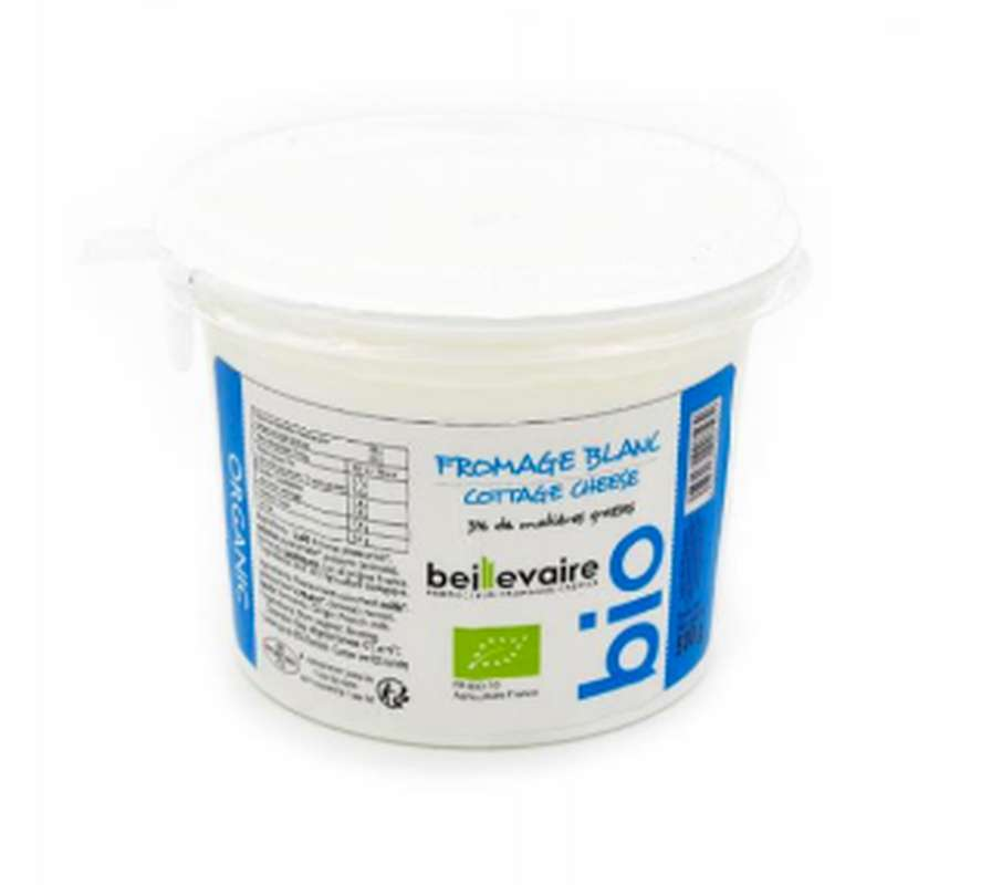 Fromage frais/fromage blanc cottage cheese 3% BIO, Beillevaire (50 cl)