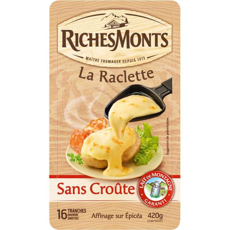 Raclette au lait de montagne pasteurisé sans croûte, RichesMonts (16 tranches, 420 g)