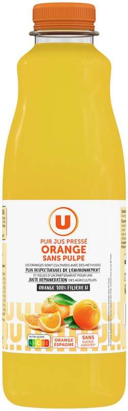 Pur jus pressé d'orange sans pulpe, U (1 L)