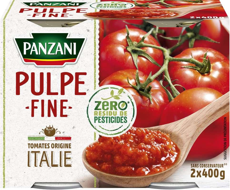 Pulpe de tomates fine sans pesticides, Panzani (2 x 400 g)