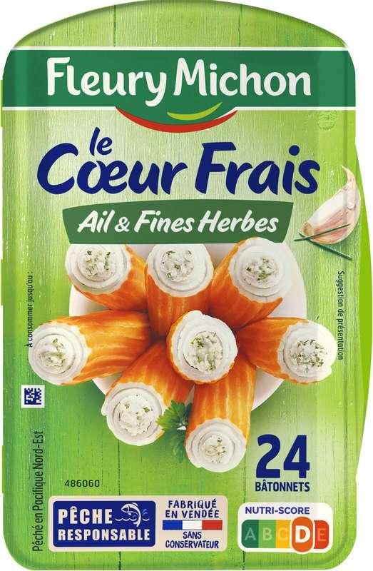 Bâtonnets de surimi Le Coeur Frais au fromage ail et fines herbes, Fleury Michon (x 24, 384 g)