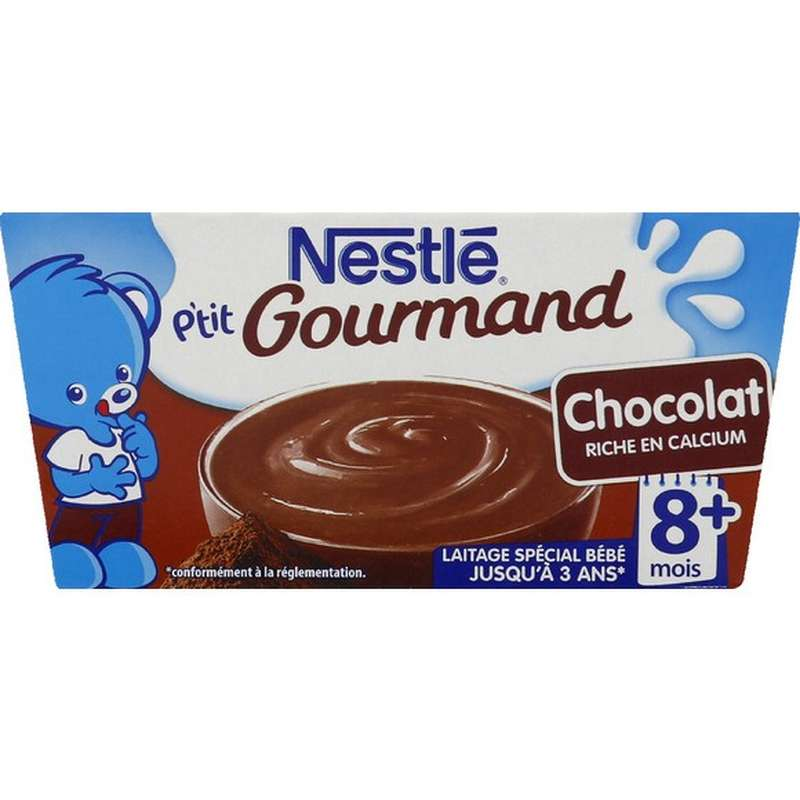 P'tit gourmand au chocolat - dès 8 mois, Nestlé (4 x 100 g)