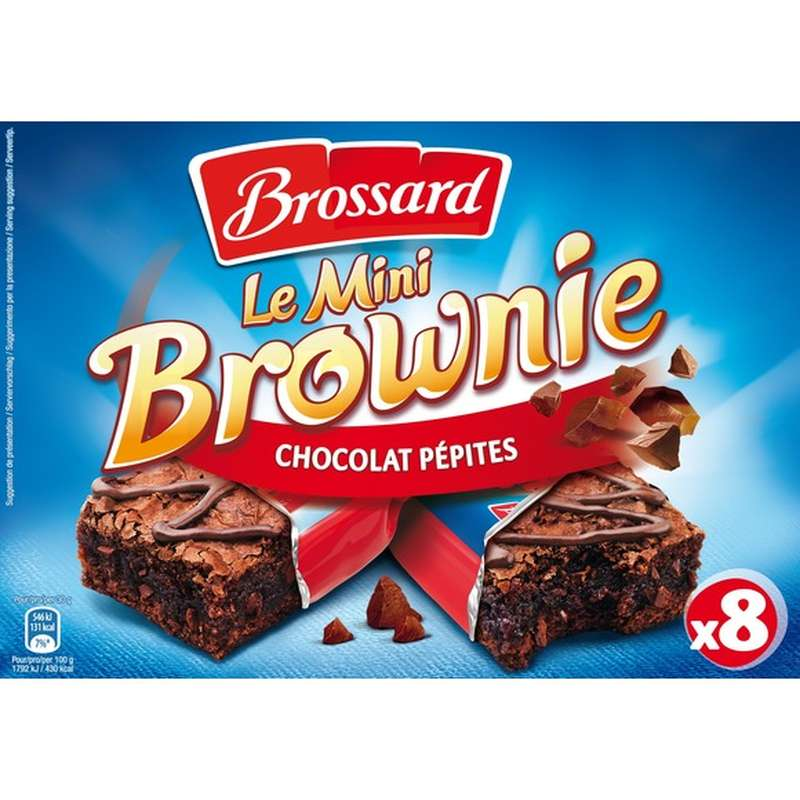Mini Brownies au pépites de chocolat, Brossard (8 x 30 g)