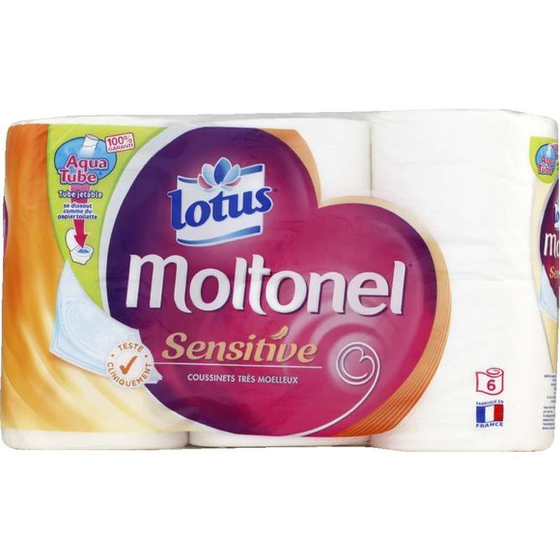 Papier toilette sensitive moltonel, Lotus (x 6)