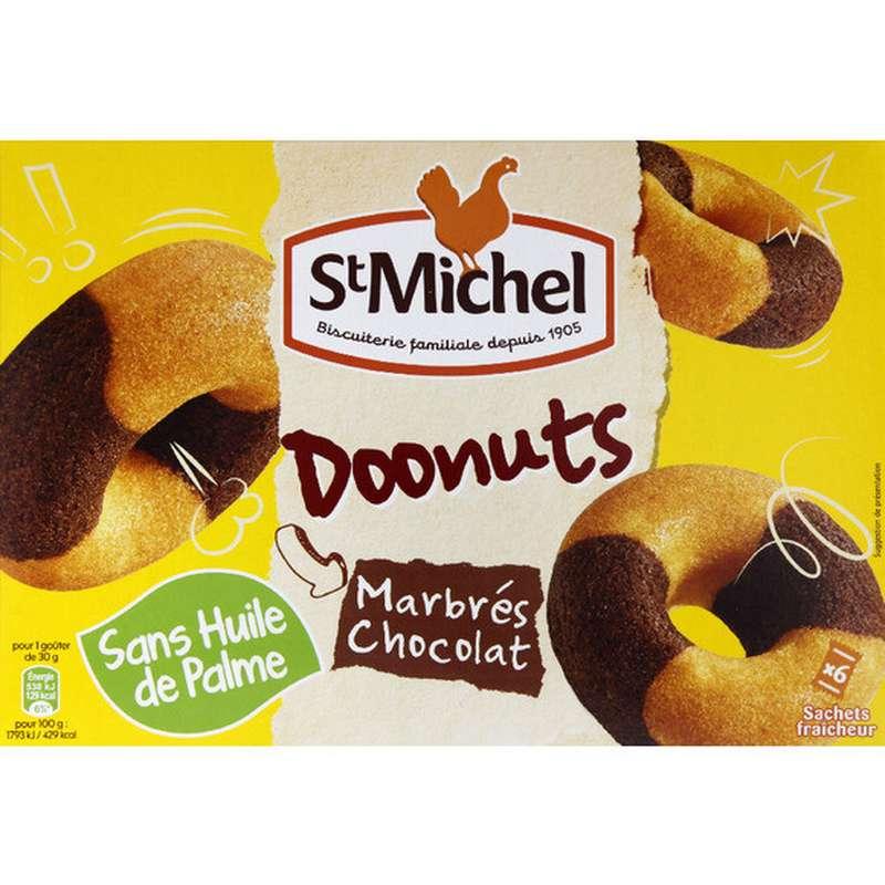 Doonuts marbrés chocolat, St Michel (x6, 180 g)