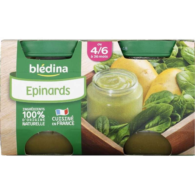 Petit pot épinards - dès 4/6 mois, Blédina (2 x 130 g)