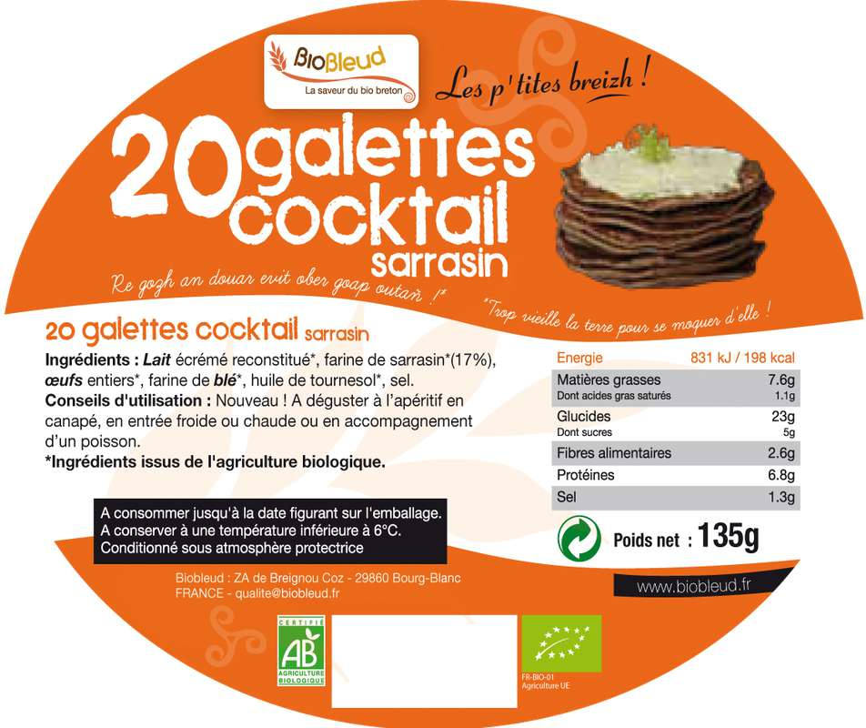 Galettes de sarrasin cocktail BIO, Biobleud, (x 20, 160 g)