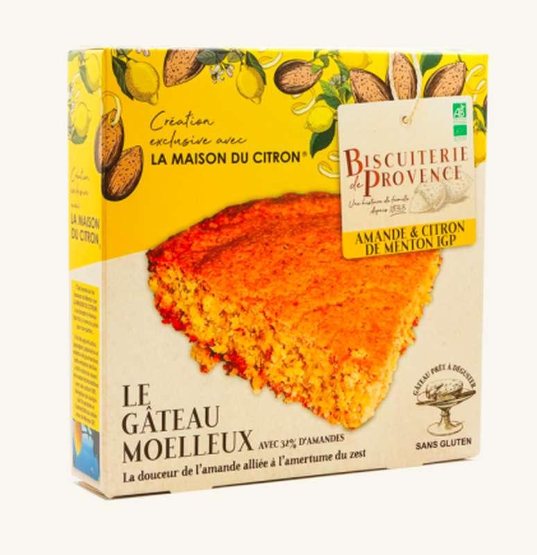 Gâteau gourmet aux amandes citron de Menton BIO Sans Gluten, Biscuiterie de Provence (225 g)