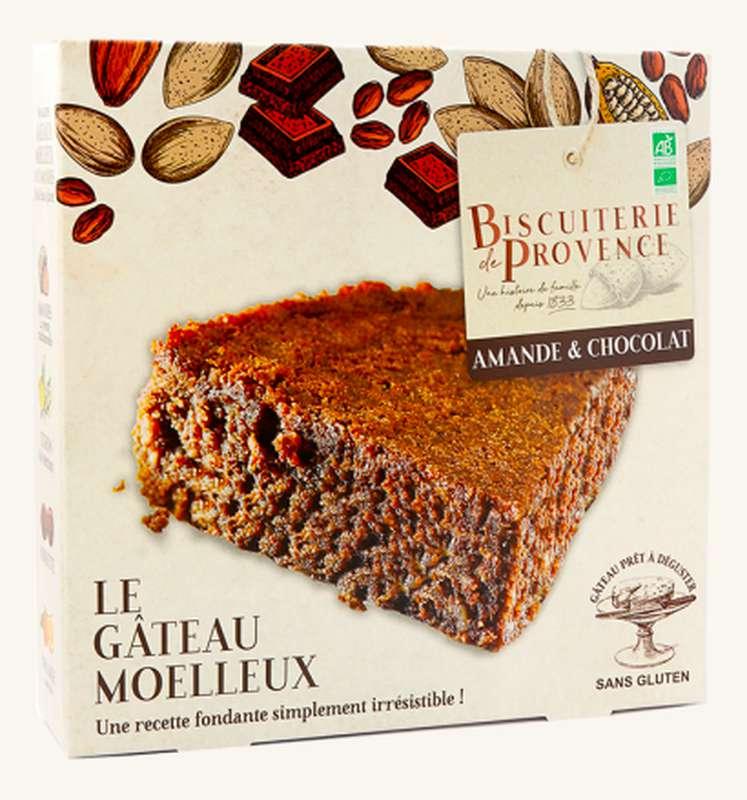 Gâteau moelleux aux amandes chocolat BIO Sans Gluten, Biscuiterie de Provence (225 g)