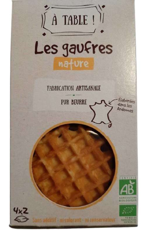 Gaufre artisanale pur beurre BIO, A Table ! (x 8, 170 g)