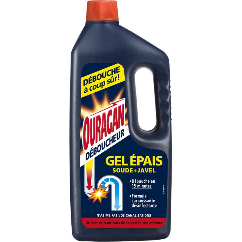Gel déboucheur WC Epais soude + Javel, Ouragan (1 L)