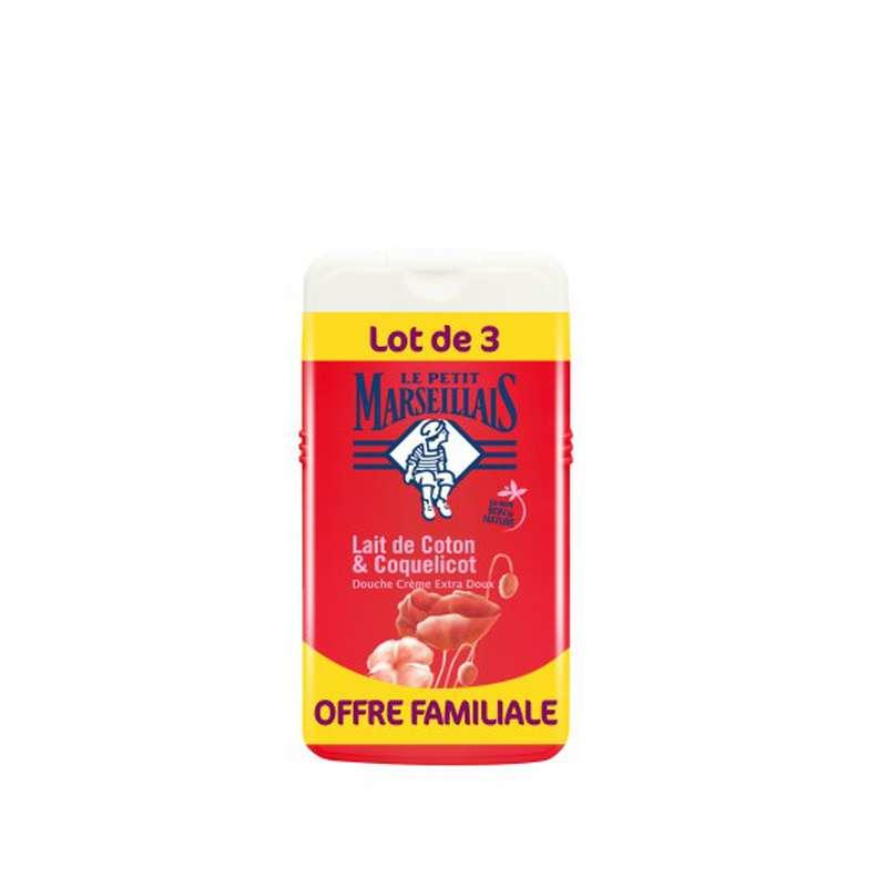 Gel douche parfum lait de coton et coquelicot, Le Petit Marseillais LOT DE 3 (3 x 250 ml)