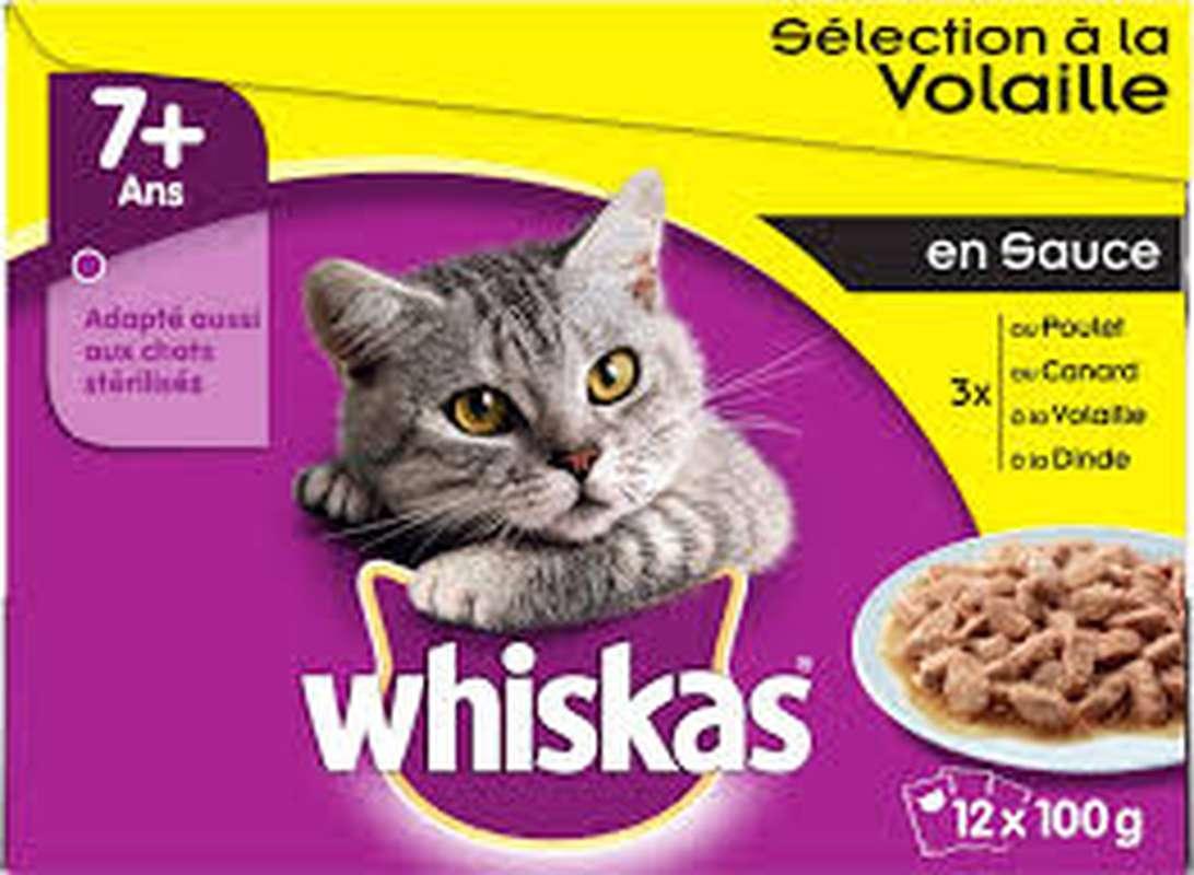 Gelée Sélection volaille pour chat 7+ an, Whiskas (12 x 100 g)