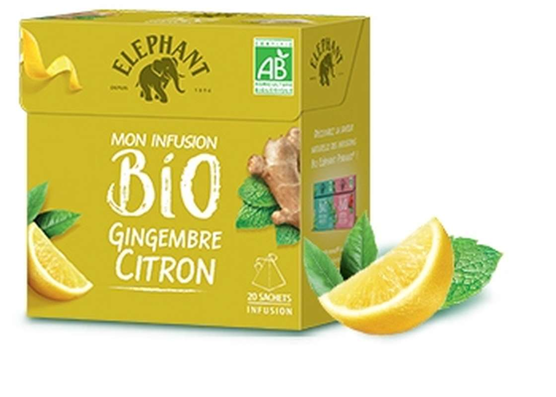 Infusion gingembre citron BIO, Elephant (20 sachets)