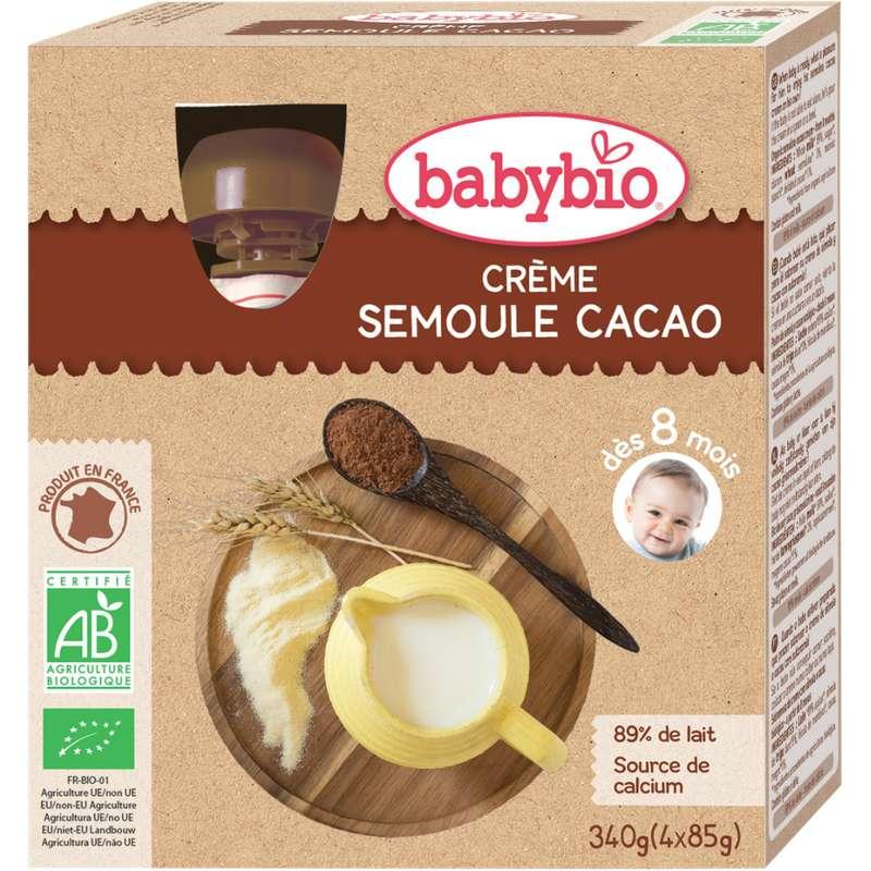 Gourde crème semoule cacao BIO - dès 8 mois, Babybio (4 x 85 g)