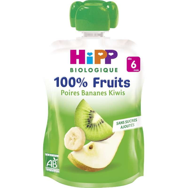 100% fruits poires, bananes, kiwis BIO - dès 6 mois, Hipp (x 1, 90 g)