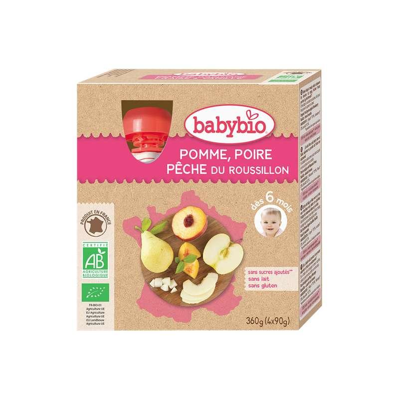 Gourde pomme, poire, pêche du Roussillon BIO - dès 6 mois, Babybio (4 x 90 g)