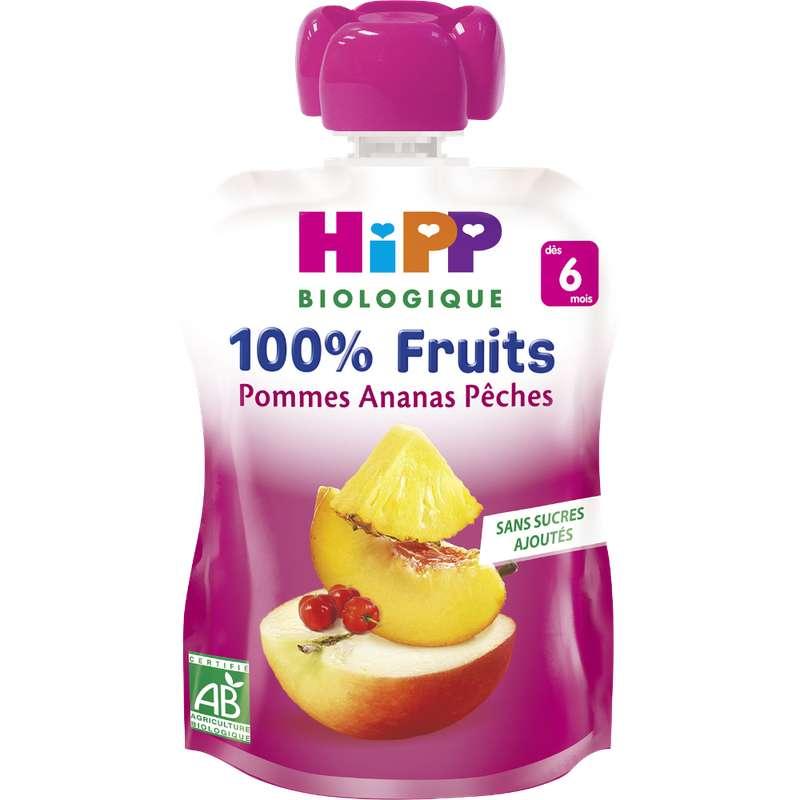 100% fruits pommes, ananas, pêches BIO - dès 6 mois, Hipp (x 1, 90 g)