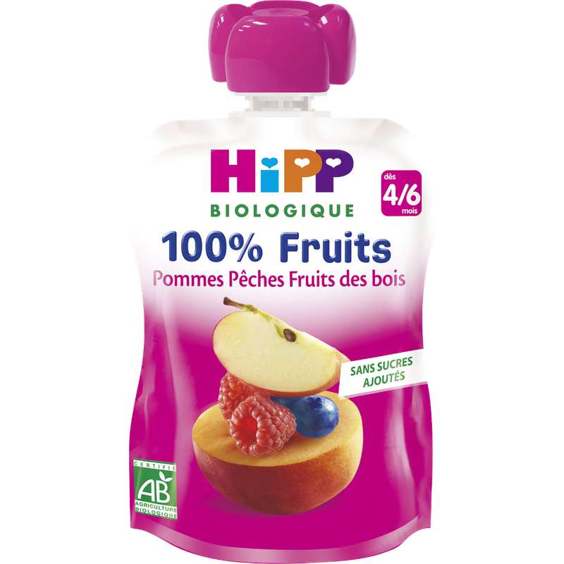 100% fruits pommes, pêches, fruits des bois BIO - dès 4/6 mois, Hipp (x 1, 90 g)