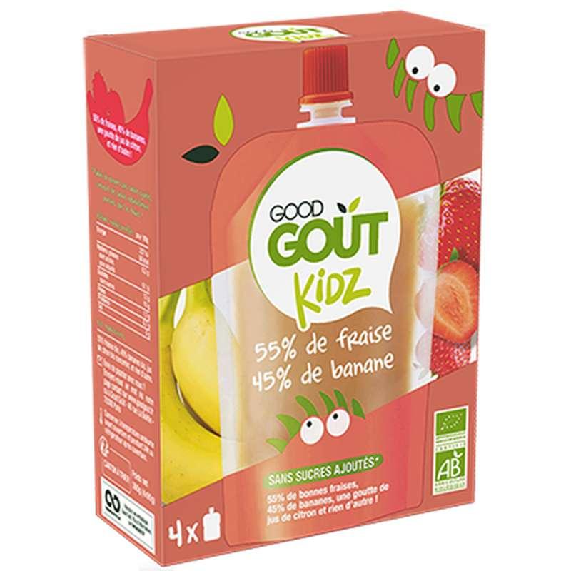 Gourdes Fraise Banane BIO - dès 3 ans, Good Goût Kid'z (4 x 90 g)