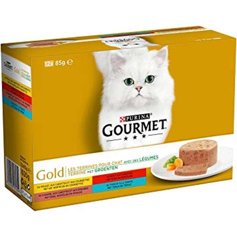 Terrines pour chat Gourmet Gold au lapin/saumon/poulet/agneau, canard (4 x 85 g)