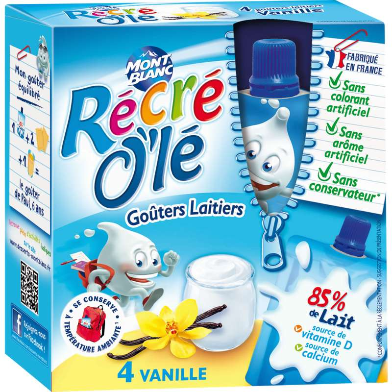 Goûter laitier Recré Olé parfum vanille, Mont Blanc (4 x 85 g)