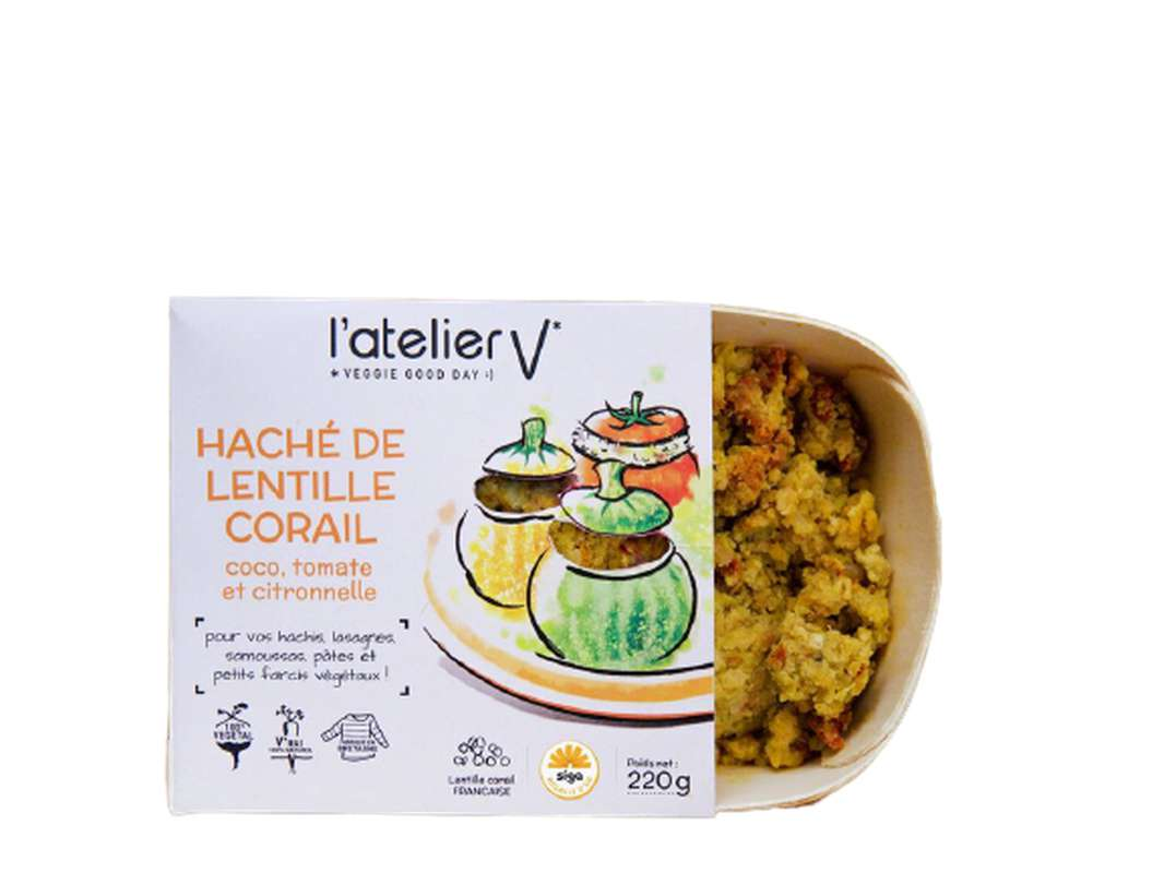 Haché à base de lentille corail, coco, tomate et citronelle BIO, L'Atelier V (220 g)