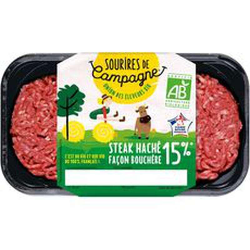 Steak haché frais Pur Boeuf 15% MG BIO, Sourire de Campagne (2 x 125 g)