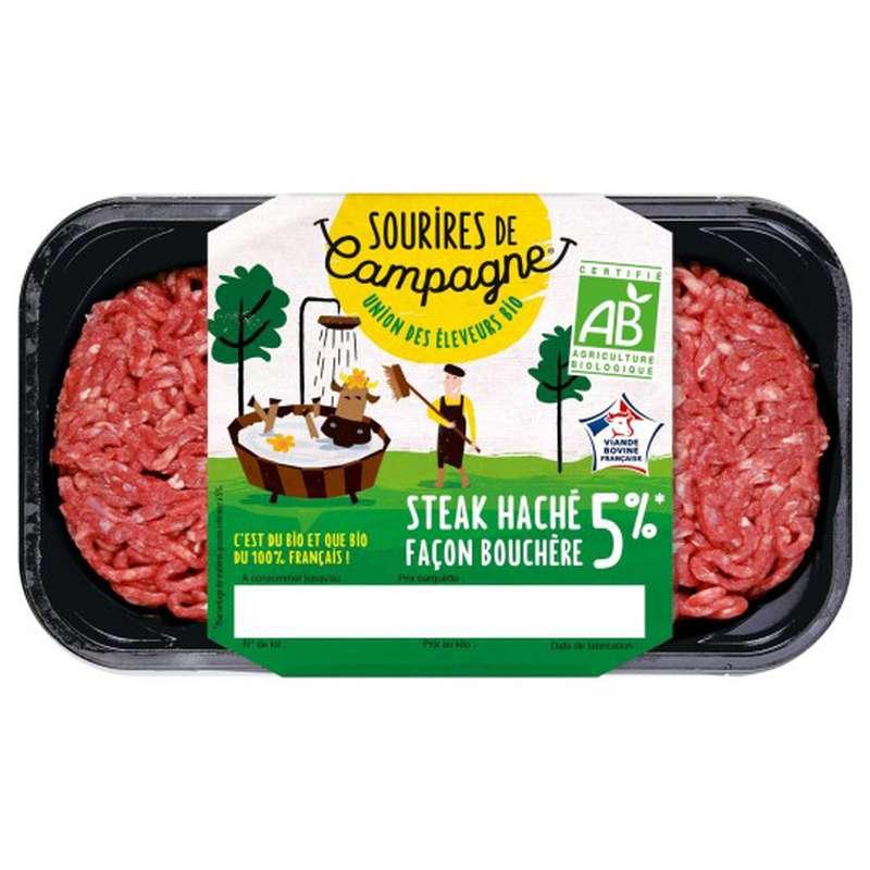 Steak haché frais Pur Boeuf 5% MG BIO, Sourire de Campagne (2 x 125 g)