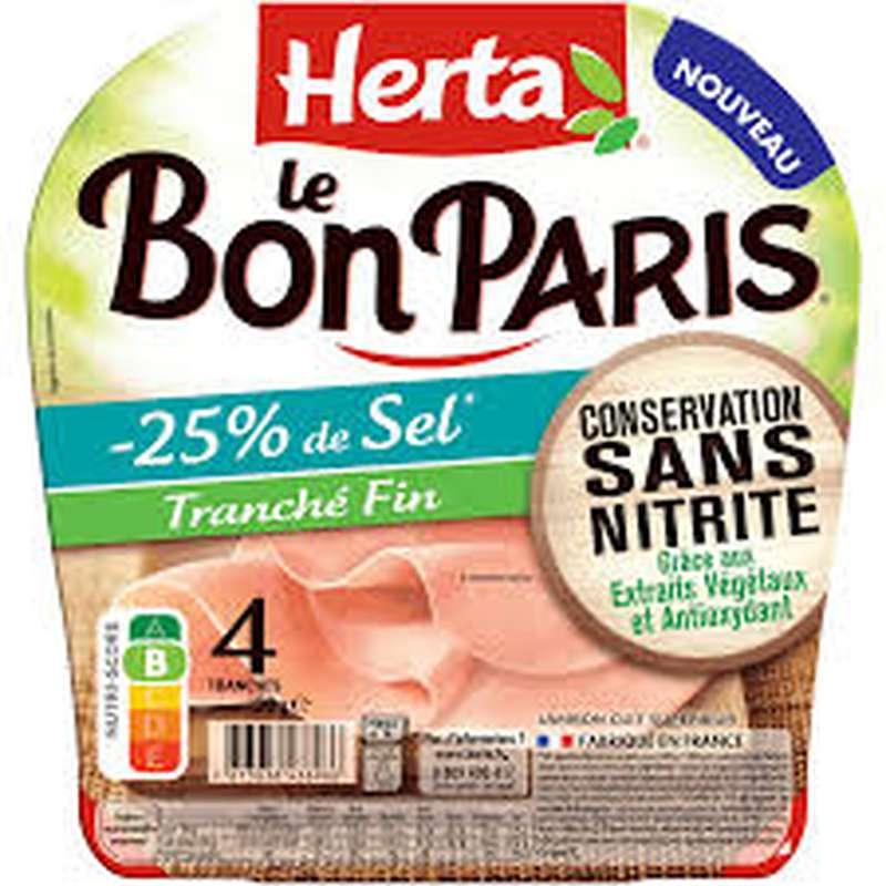 Jambon Le Bon Paris -25% sel tranché fin sans nitrite, Herta (4 tranches, 120 g)