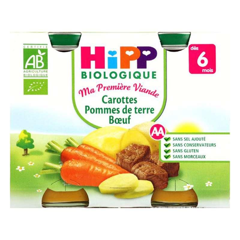 Ma première viande carottes PDT boeuf BIO - dès 6 mois, Hipp (2 x 190 g)