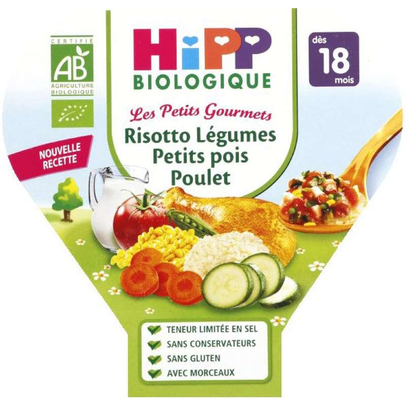 Les petits gourmets risotto légumes, petits pois, poulet BIO - dès 18 mois, Hipp (260 g)